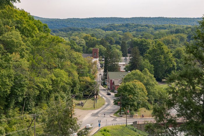 View from the Wallkill Valley Rail Trail in the Hudson Valley in Ulster County, New York.