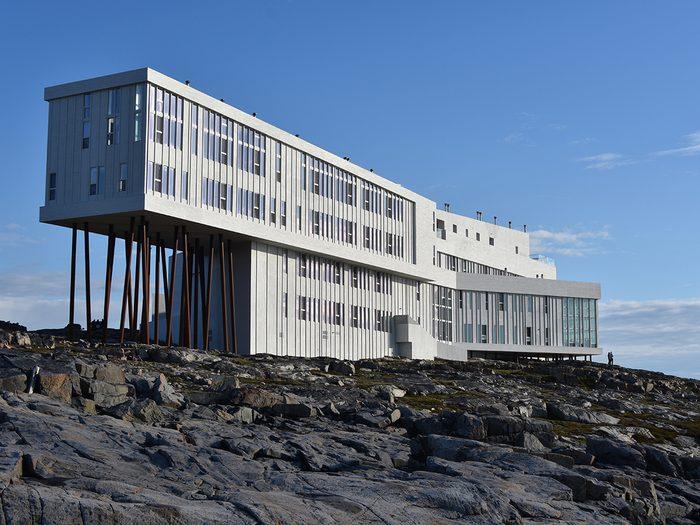 Cool hotels Canada - Fogo Island, Newfoundland, Canada - June 28, 2016: Modern hotel in a barren, northern landscape