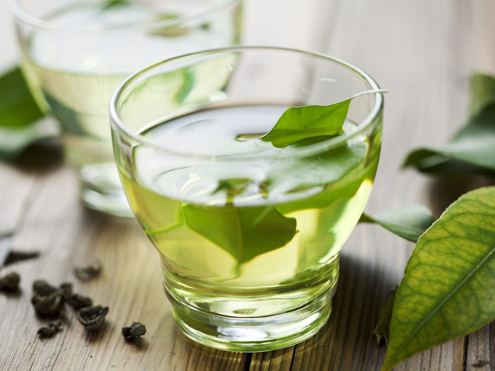 Green tea with green tea leaves