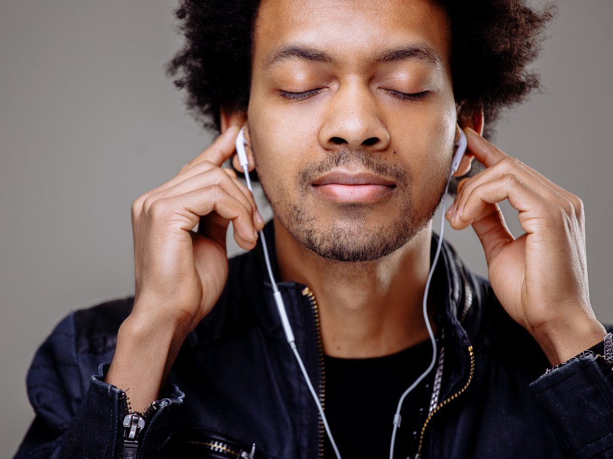 Health studies - man listening to music