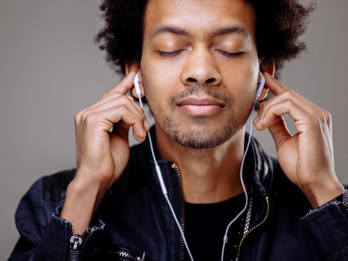 Health studies - man listening to music