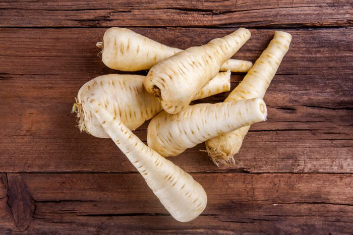 parsnip bunch on wood top view
