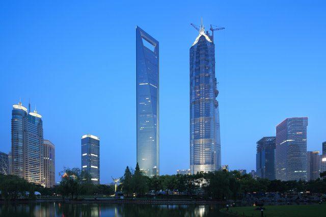 Shanghai pudong lujiazui skyscrapers