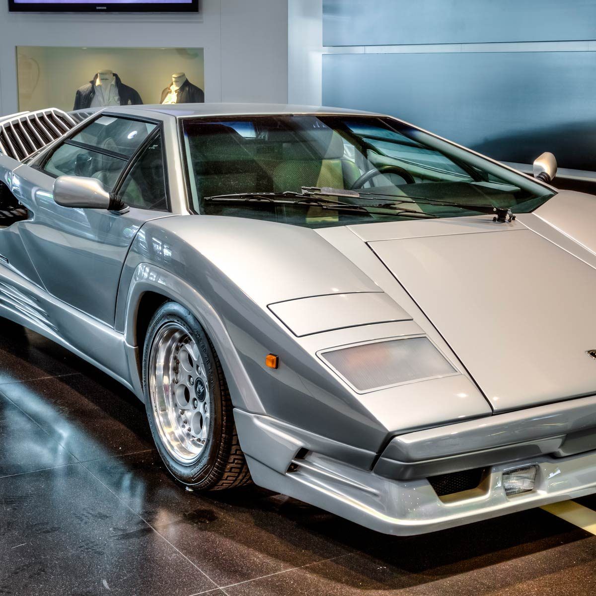 vintage luxury Lamborghini Countach produced from 1974 to 1990 on exposition at Bologna Airport for 100 years history of Lamborghini.