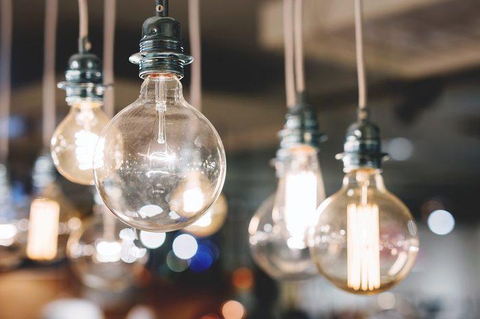 Big edison lightbulbs with retro film filter effect