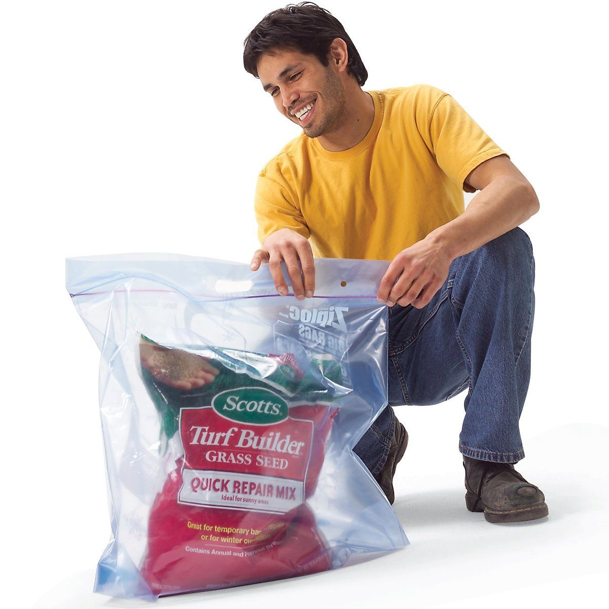 lawn products in plastic bag