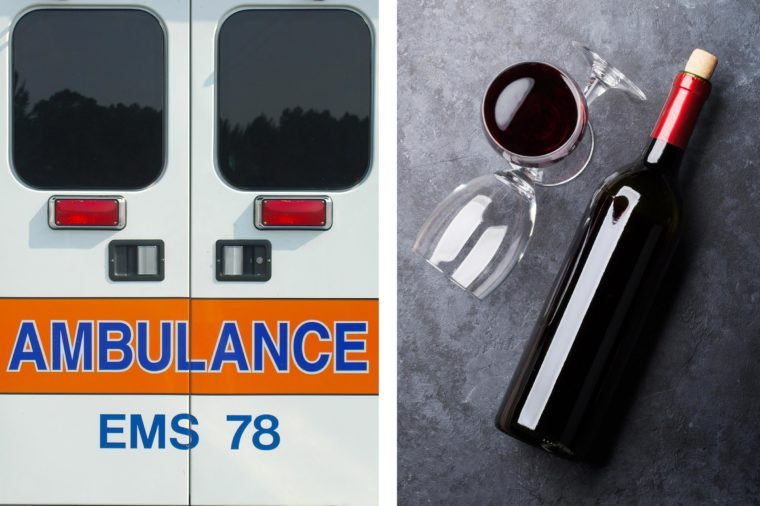 Upper abdominal pain - ambulance and wine