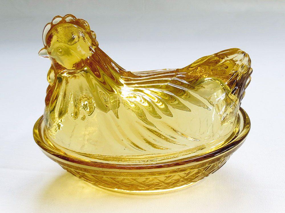 Amber glass hen butter dish