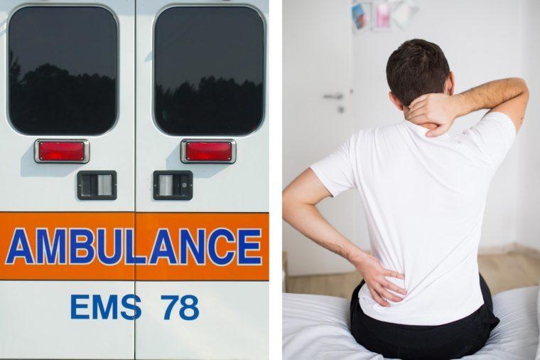 Upper abdominal pain - back ambulance doors