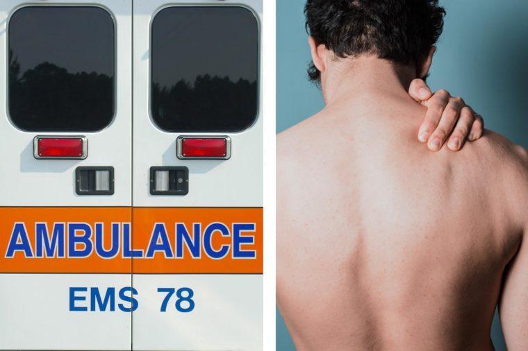 Upper abdominal pain - back pain ambulance doors