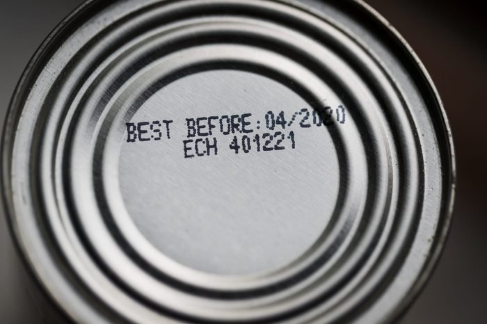 Close up of a can of food's best before date
