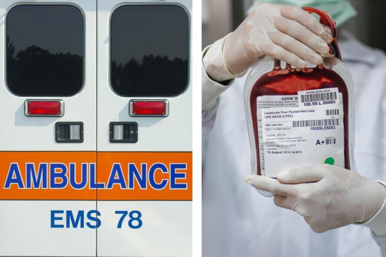 Upper abdominal pain - blood ambulance doors