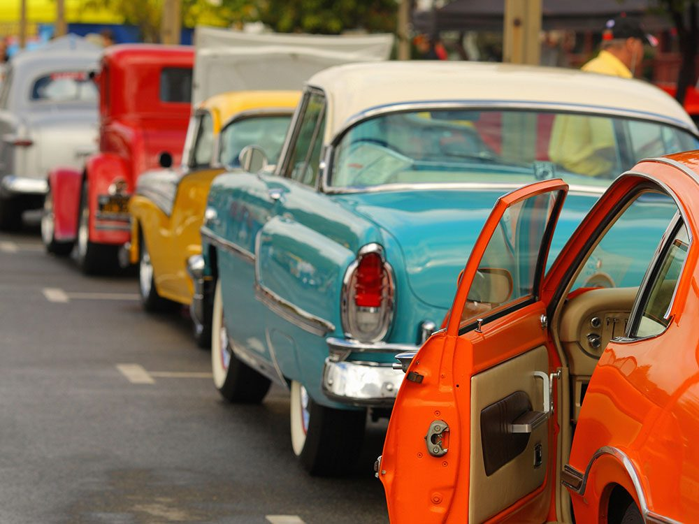 Classic car cruise - row of vintage cars