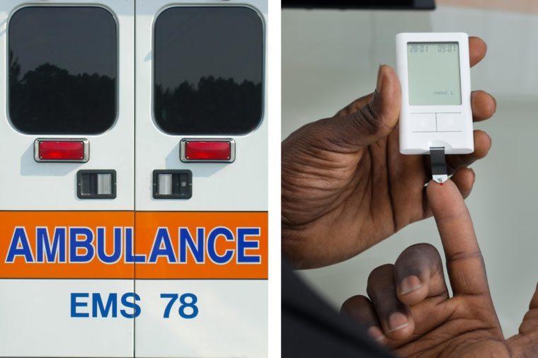 Upper abdominal pain - diabetes blood test ambulance doors