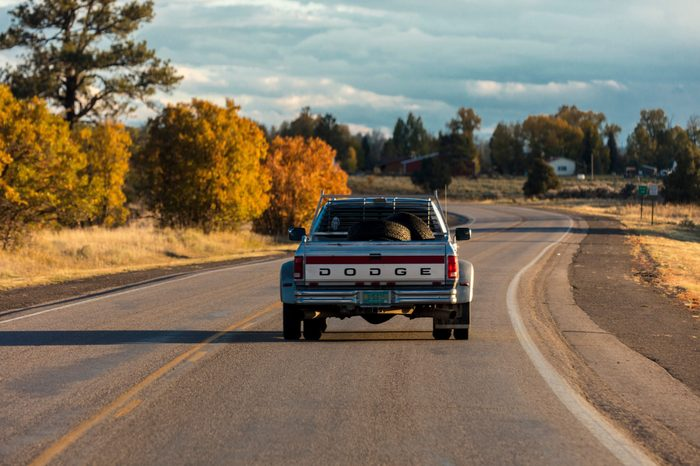 October 8,, 2018, USA - Dodge Pickup truck drives in Southern Colorado near Chama New Mexico