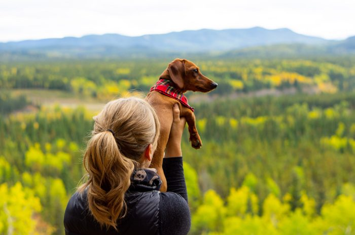 Blonde girl holding up small brown dachshund in front of a beautiful landscape