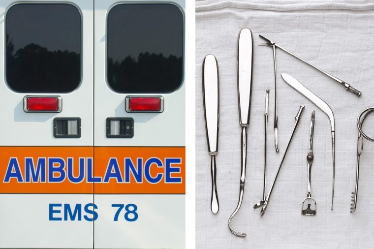 Upper abdominal pain - surgical tools ambulance doors
