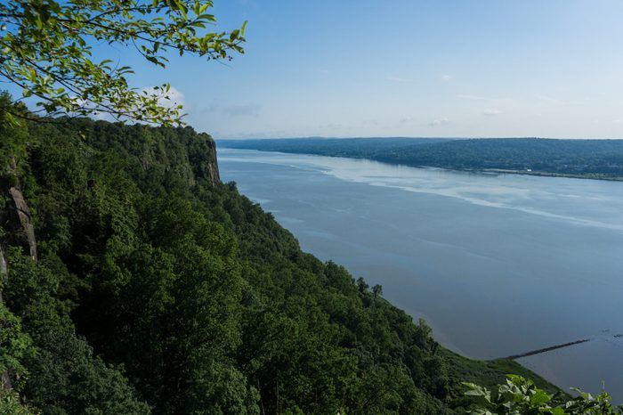 View from the Palisades over the Hudson River at the height of summer