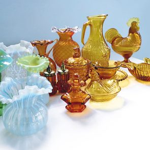 Vaseline glass and amber glass