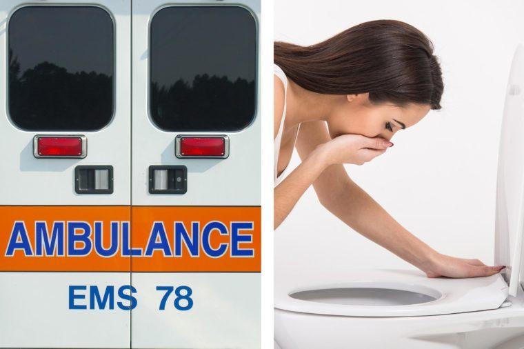 Upper abdominal pain - vomiting ambulance doors