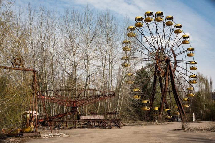 Old ferris wheel in the ghost town of Pripyat. Consequences of the accident at the Chernobyl nuclear power plant