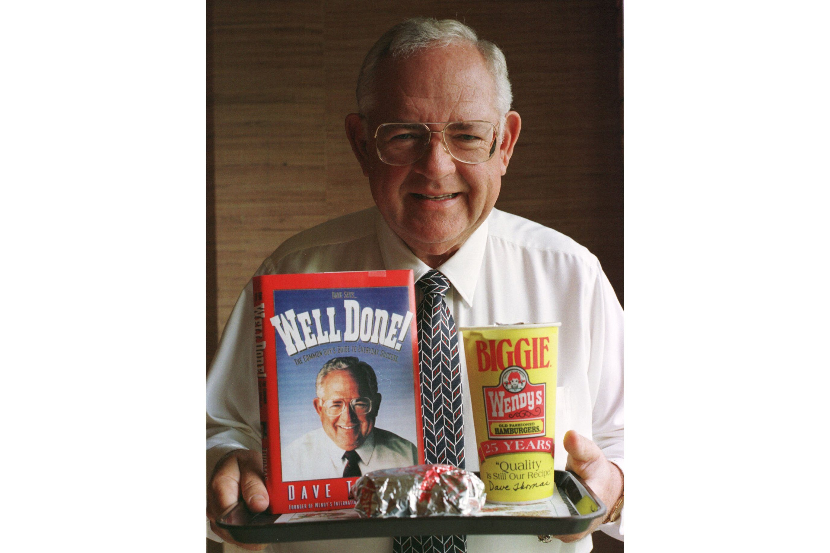 Mandatory Credit: Photo by Chris Kasson/AP/Shutterstock (6582617a) THOMAS Dave Thomas, is shown in this 1994 photo, died around midnight at his home in Fort Lauderdale, Fla., according to Wendy's the company he founded. Thomas, whose homespun ads built Wendy's Old-Fashioned Hamburgers into one of the world's most successful fast-food franchises, had been undergoing dialysis for a kidney problem since early 2001. Thomas had quadruple heart bypass surgery in December 1996 WENDYS DAVE THOMAS, COLUMBUS, USA
