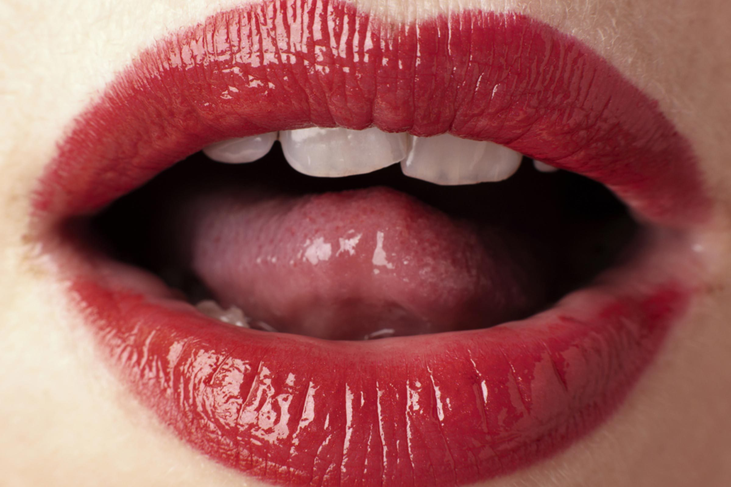 Close-up of woman's red lips