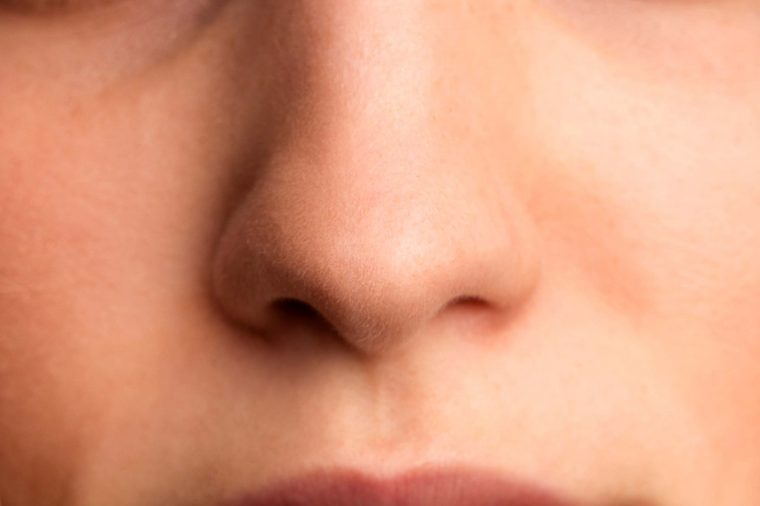 Close-up of woman's nose