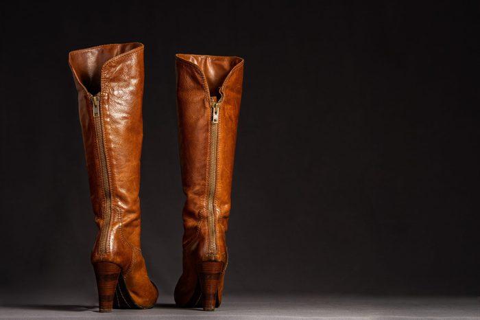 Close up of beautiful, stylish leather boots.