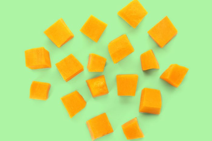 cheese cubes on green