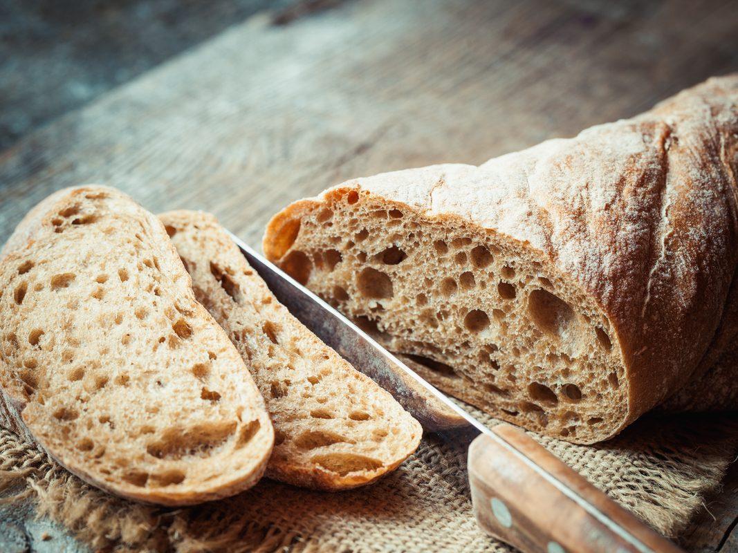 Sliced freshly baked artisanal bread