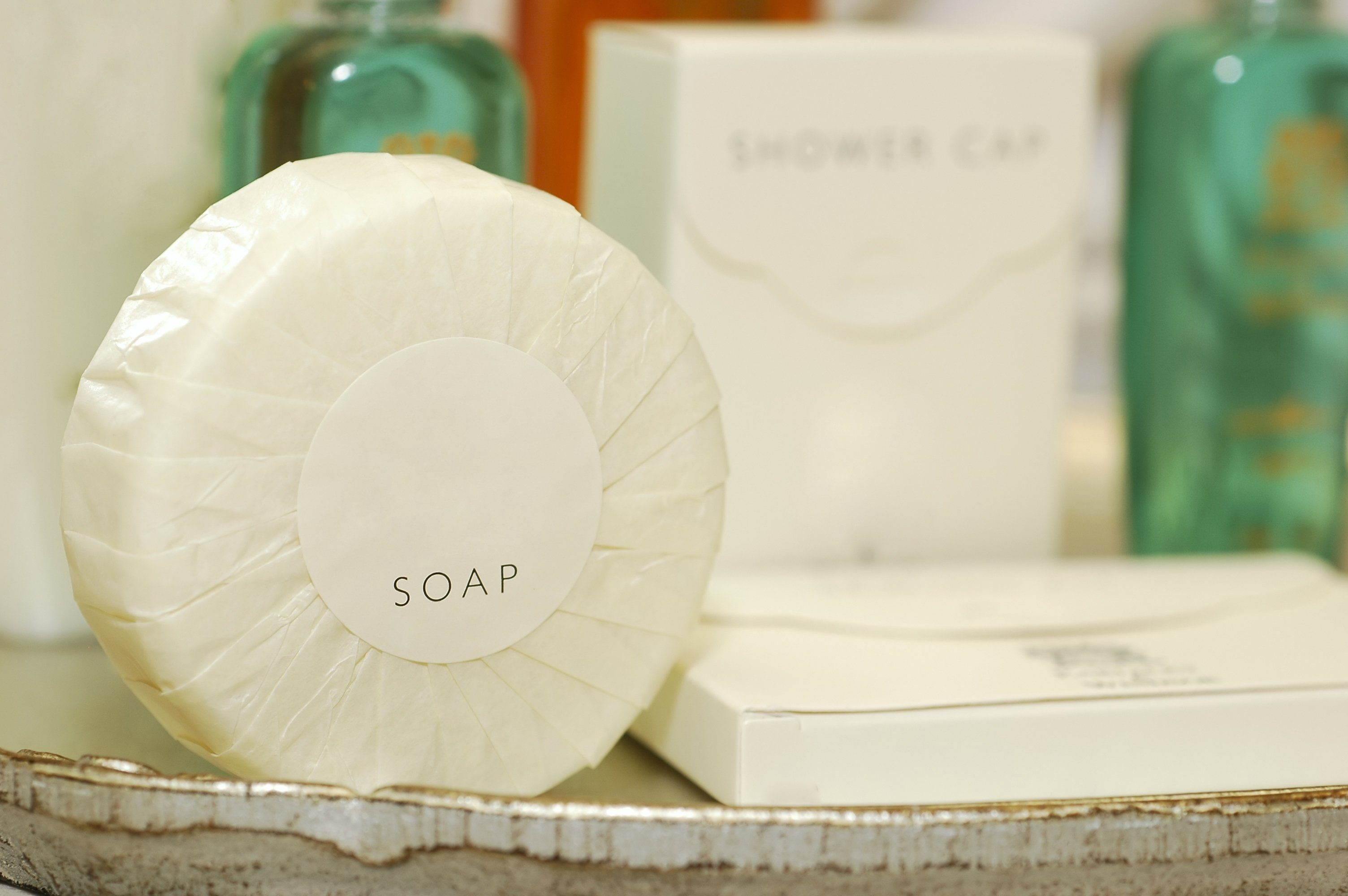 Soap and other toiletries in a hotel bathroom