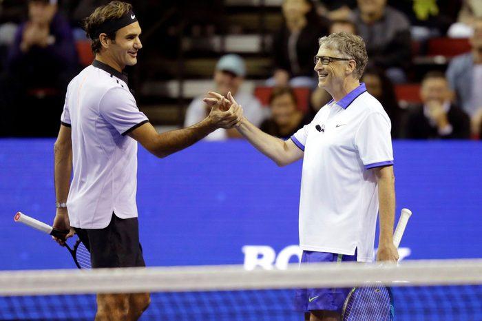 Bill Gates with Roger Federer, 2017