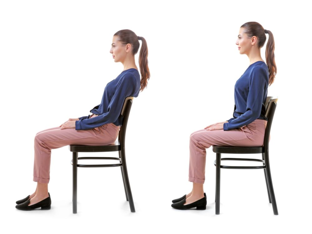 Two images of woman sitting in chair, slouching and upright