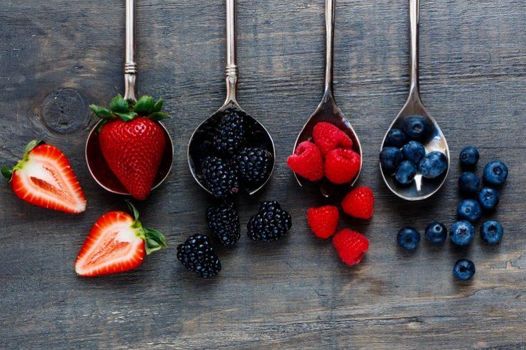 Strawberries, blackberries, raspberries and blueberries