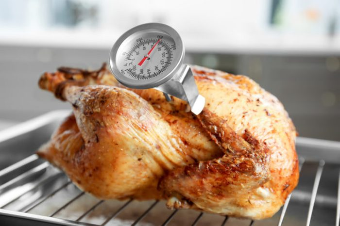 Golden roasted turkey on baking tray with a meat thermometer