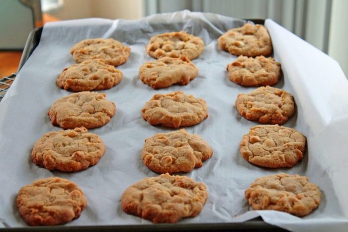 Cookies Lined up on Baking Sheet