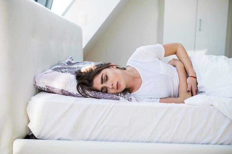 Woman menstruating