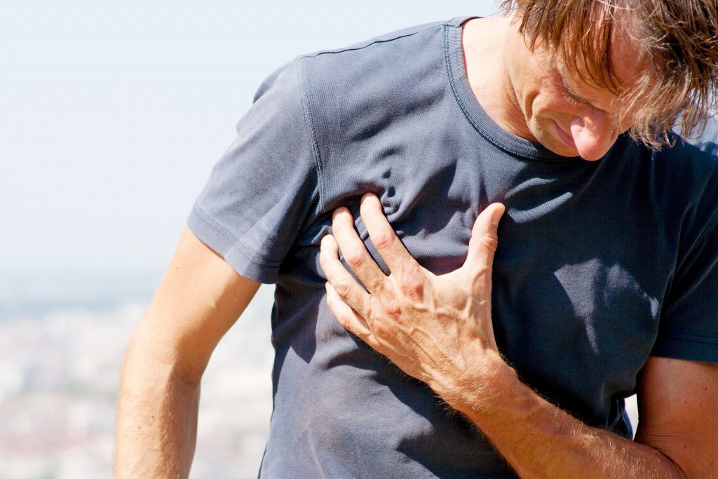 Man experiencing chest pains