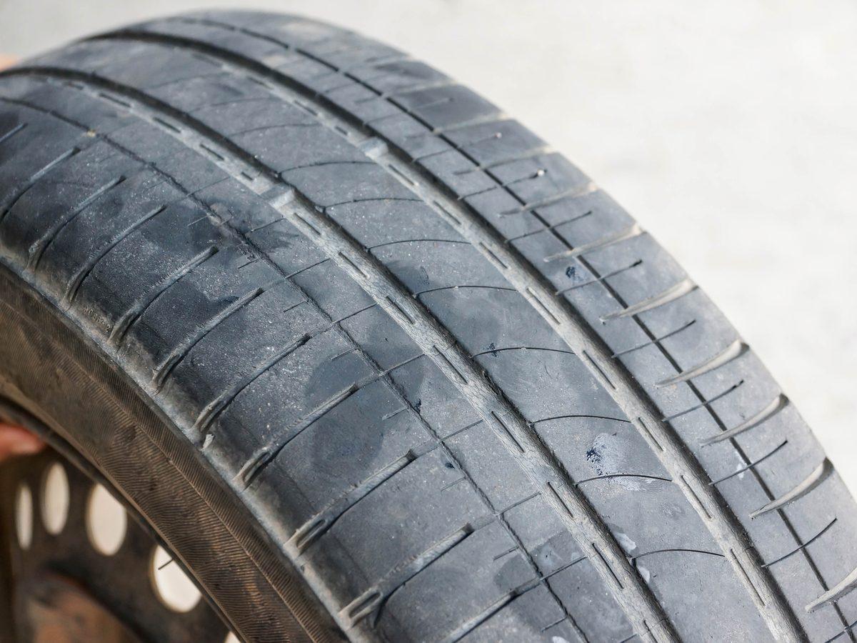 Worn out car tire tread