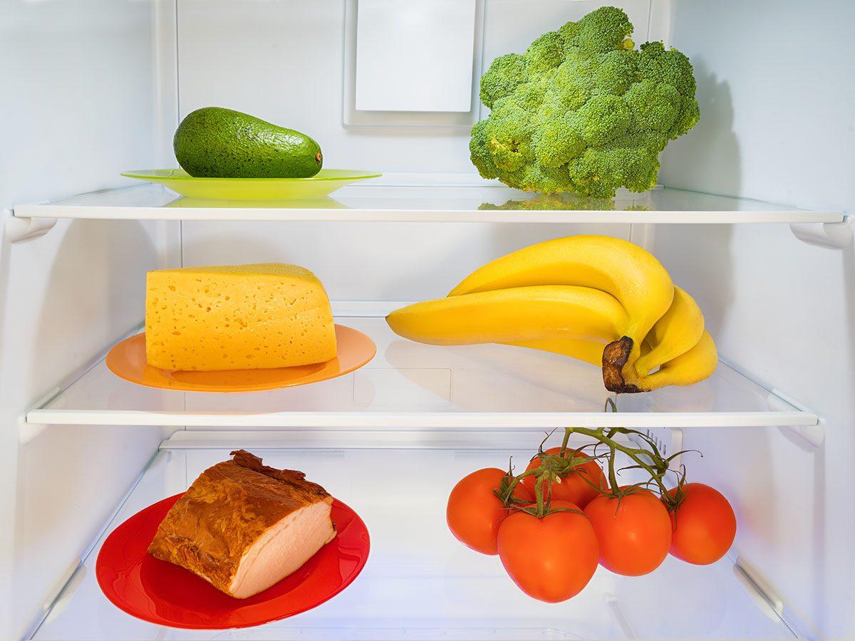 Food in a refrigerator.