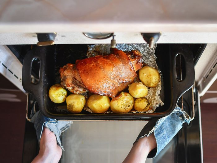 Roast coming out of the oven.