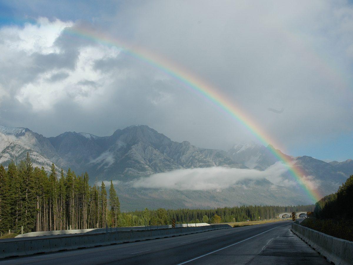Best rainbow photography - Kananaskis Highway rainbow