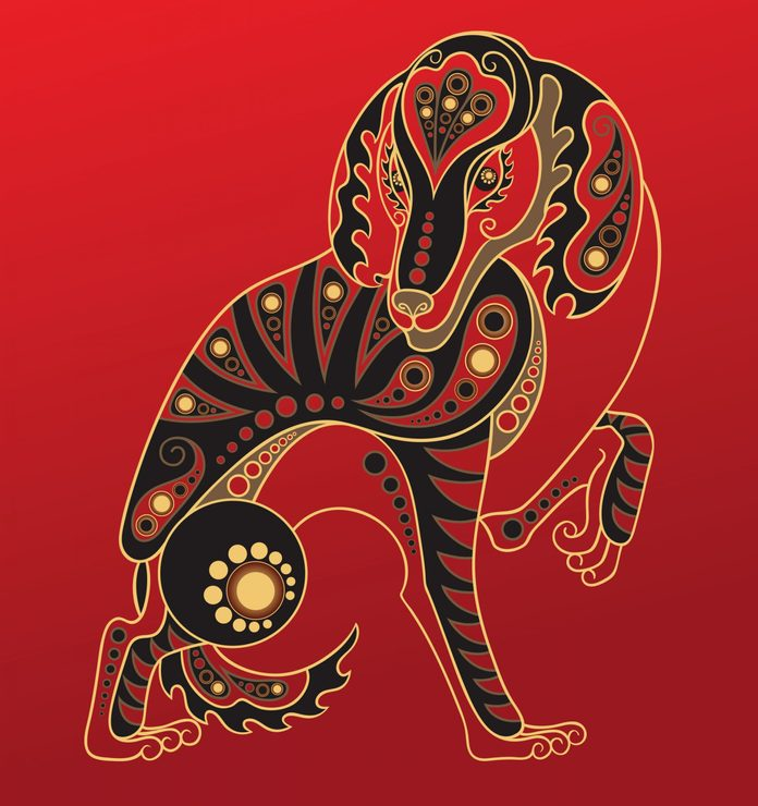 Dog - Chinese horoscope animal sign. The vector art image in decorative style.