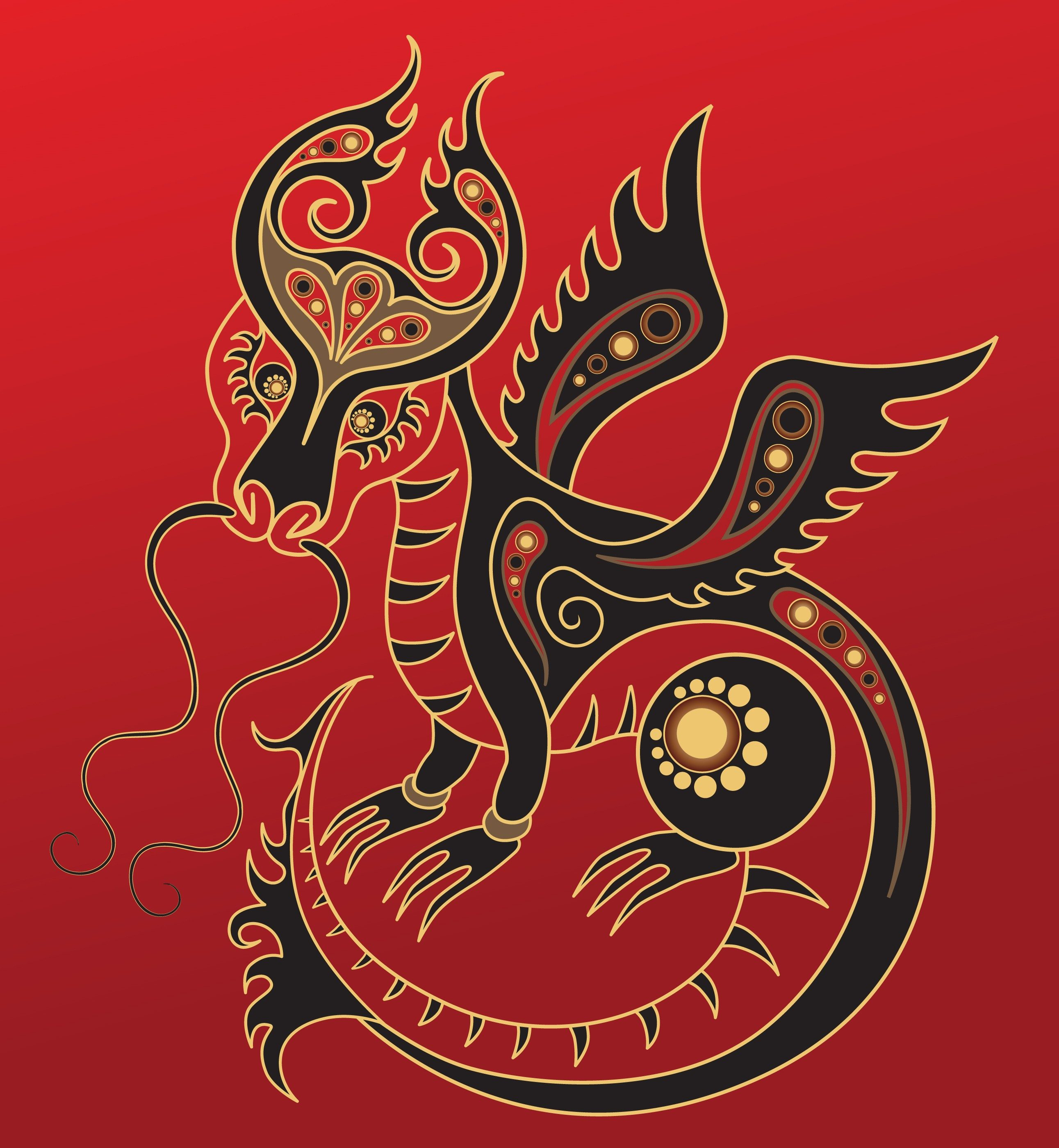 Dragon - Chinese horoscope animal sign. The vector art image in decorative style