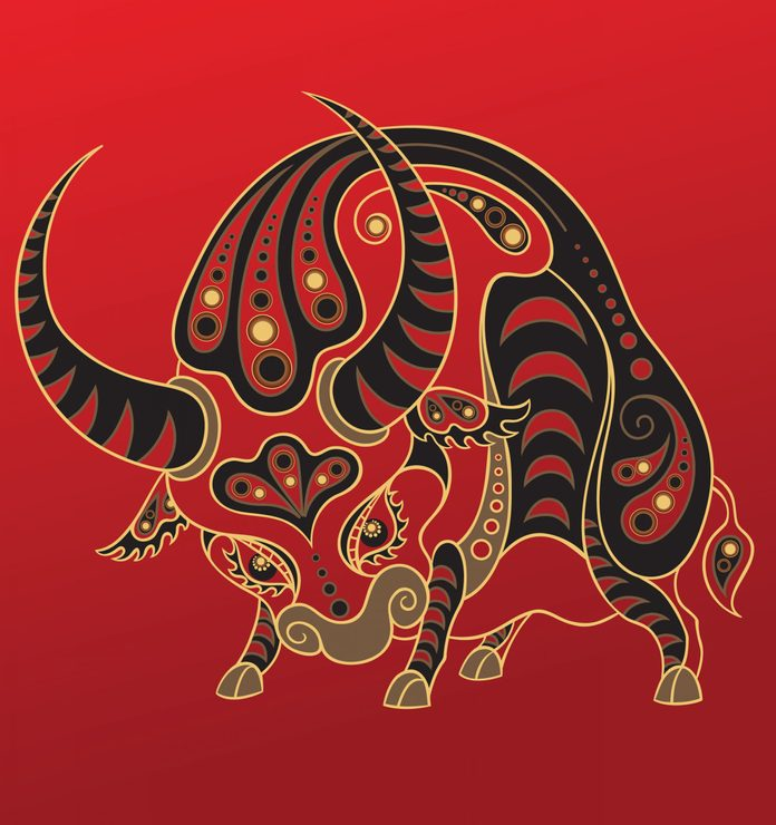 Ox - Chinese horoscope animal sign. The vector art image in decorative style
