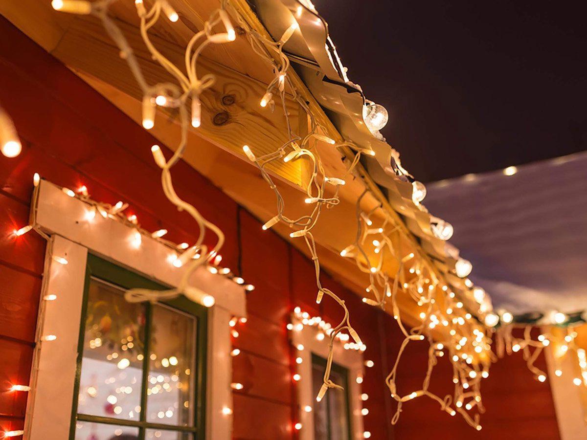 Christmas lights on house