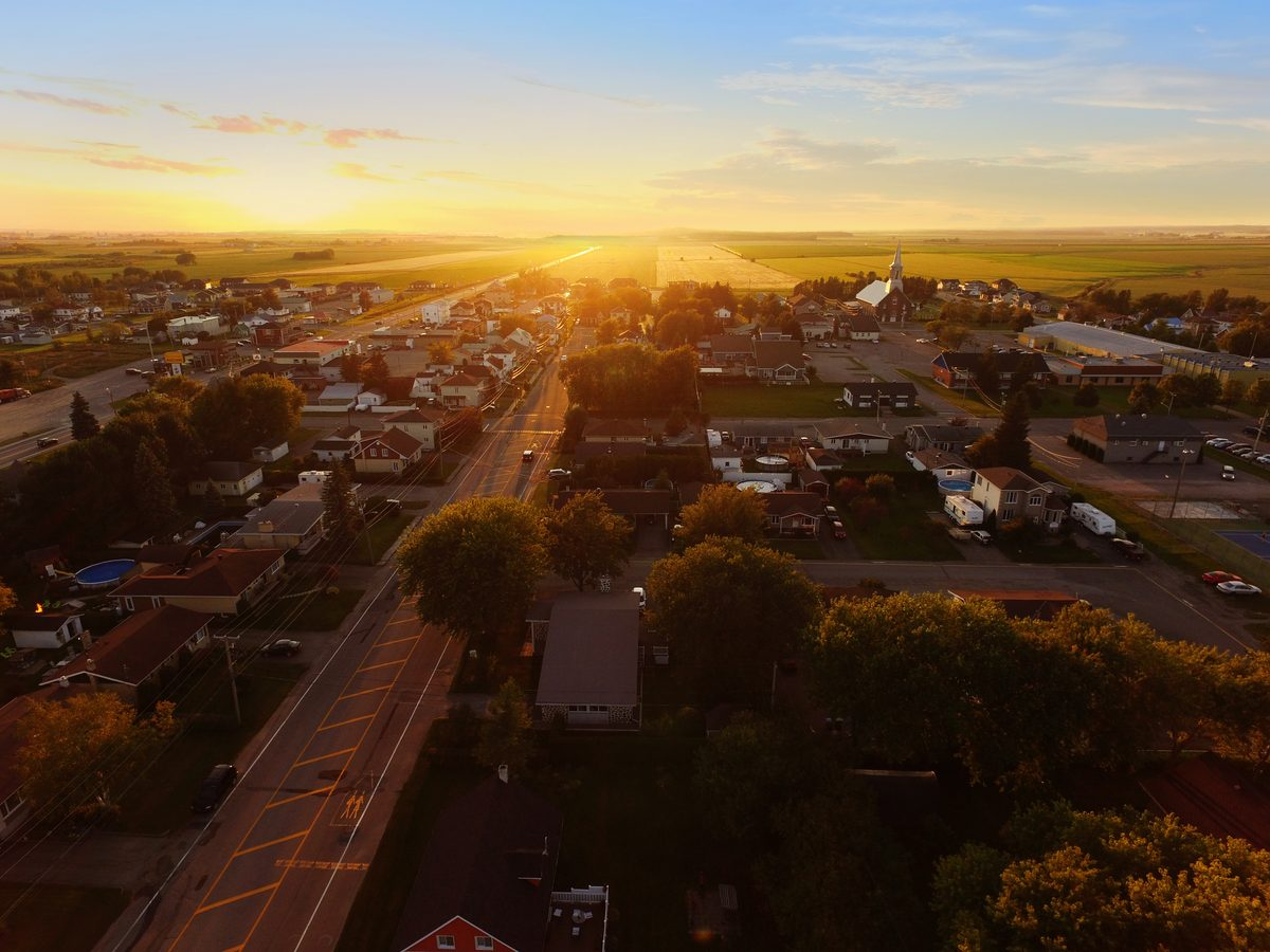 Aerial view of small town as the sun sets