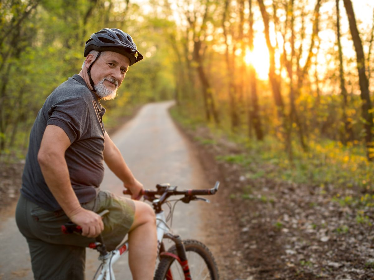 Man riding bike in nature