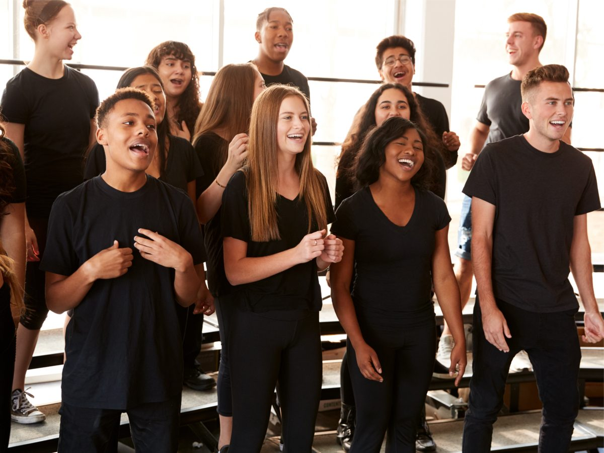 Young people singing in choir